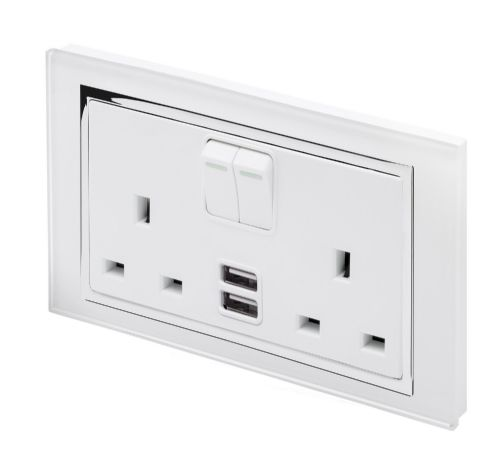 RetroTouch Double Switched 13A Plug Socket 2.1A USB 13A White Glass CT 00658